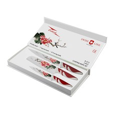 B-313 Swiss Line Octavo 3 Piece Coating Knife Set - Cherry Blossom