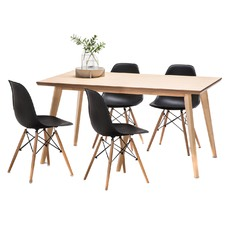 Wyatt Dining Table Set with 4 Eames Replica Chairs