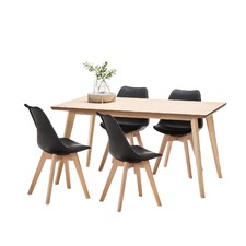 Bruno Dining Table Set with 4 Padded Eames Chairs