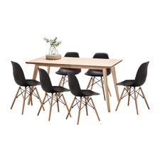 Wyatt Dining Table Set with 6 Replica Eames Chairs