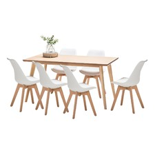 Wyatt Dining Table & 6 Padded Eames Replica Chairs Set