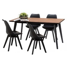 Walnut Bruno Dining Table Set with 4 Black Padded Eames Chairs