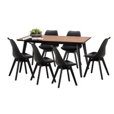 Wyatt Bruno Dining Table Set with 6 Black Padded Eames Replica Chairs