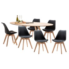 Betty Dining Table with 6 Padded Eames Chairs