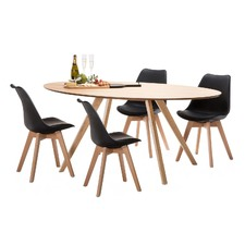 Betty Dining Table Set with 4 Padded Eames Chairs
