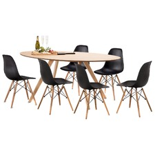 Betty Dining Table Set with 6 Replica Eames Chairs