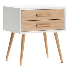 White Osvald Scandi 2 Drawer Side Table