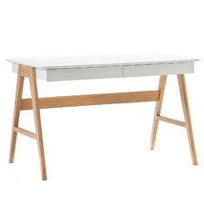 White Scandi 2 Drawer Desk