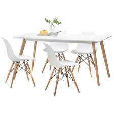 White Scandi Dining Table Set with 4 White Replica Eames Chairs