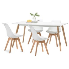 White Scandi Dining Table Set with 4 White Padded Eames Chairs
