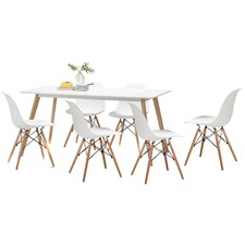 White Scandi Dining Table Set with 6 White Replica Eames Chairs