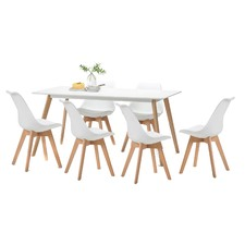 White Scandi Dining Table Set with 6 White Padded Eames Chairs