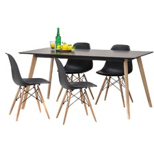 Black Scandi Dining Table Set with 4 Black Replica Eames Chairs