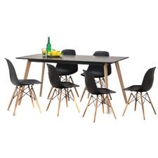 Black Scandi Dining Table Set with 6 Black Replica Eames Chairs