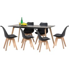 Black Scandi Dining Table Set with 6 Black Padded Eames Chairs