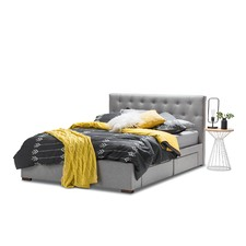 Grey Button Kazo 4 Drawer Tufted Fabric Queen Bed