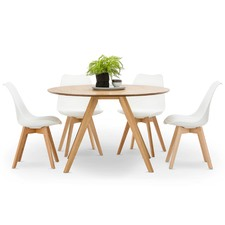 Milari Round Dining Table & Padded Eames Replica Chairs Set