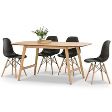Ceyla Dining Table & Eames Replica Chairs Set