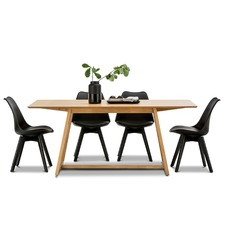 Manhattan Dining Table & Eames Replica Padded Chairs Set