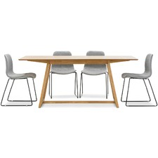 Manhattan Dining Table with Grey Sadel Dining Chairs Set