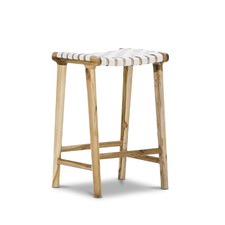 Cassie Leather & Teak Counter Stool
