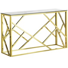 Gold Polished Luxe Geo Console Table
