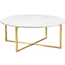 Gold Polished Luxe Milan Marble Coffee Table