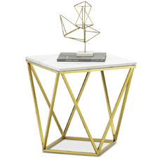 Brushed Gold Luxe Katherine Marble Side Table