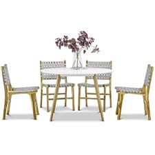 Round Heather Dining Table & Lazie Teak Chairs Dining Set