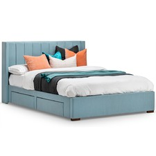 Wedgwood Blue Tiffany Queen Bed Frame with Storage
