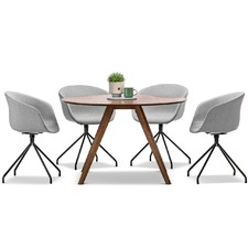 Round Milari Dining Table & Hee Welling Replica Chairs Set