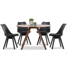 Milari Dining Table & Black Eames Replica Chairs Set