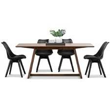 Walnut Manhattan Dining Table & Eames Replica Chairs Set
