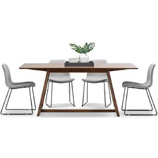 Walnut Manhattan Dining Table & Sadel Chairs Set