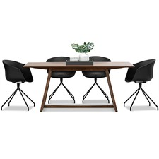 Walnut Manhattan Dining Table & Hee Welling Replica Chairs Set