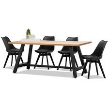 Brooklyn Dining Table & Eames Replica Padded Chairs Set