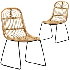 Natural Astro Rattan & Cane Dining Chairs (Set of 2)
