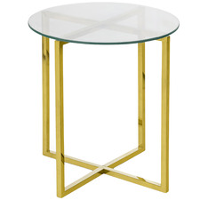 Gold Luxe Ellie Glass Top Side Table