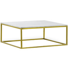 Brushed Gold Luxe Elisa Marble Top Coffee Table