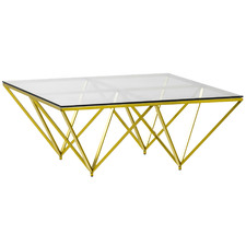 Brushed Gold Luxe Ariana Glass Top Coffee Table