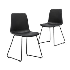 Black Sadel Faux Leather Dining Chairs (Set of 2)
