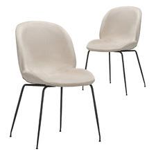 Beetle Replica Velvet Dining Chairs (Set of 2)