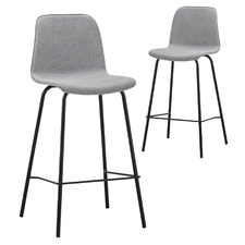 65cm Grey Sadel Fabric Barstools (Set of 2)
