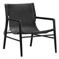 Norah Sling Leather & Teak Armchair