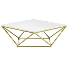 Brushed Gold Luxe Geo Marble Coffee Table