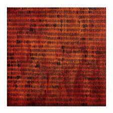Katherine Boland Burnt Grid 1 Stretched Canvas in Orange by Katherine Boland