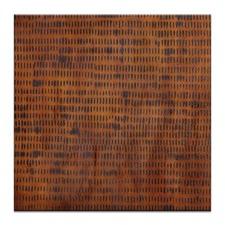 Katherine Boland Burnt Grid 2 Stretched Canvas in Orange by Katherine Boland