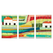 Anna Blatman Farm House Triptych Art
