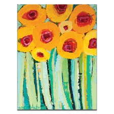 Anna Blatman Yellow Poppies Stretched Canvas