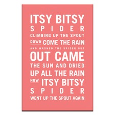 Nursery Art Itsy Bitsy Spider Stretched Canvas by Teresa Ventura